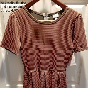 Medium Amelia dress- pink and olive
